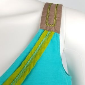 Boden Tops - Boden Turquoise Silk Blend Embroidered Tank